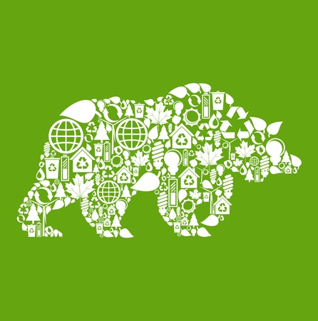 conceptual bulb: Bear made from eco icons