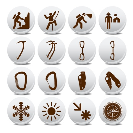 Mountain climber icon set Stock Vector - 10048563