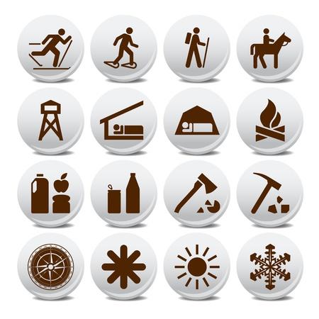 conquistando: Conjunto de iconos de silueta de vectores en el ocio activo