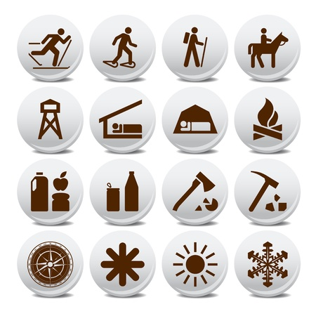 mountaineering: Set of vector silhouette icons on the active leisure Illustration