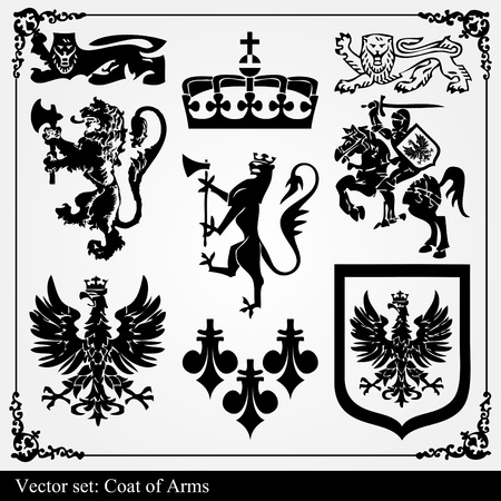 crests: Silhouettes of heraldic elements vector