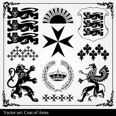 herald: Silhouettes of heraldic elements vector