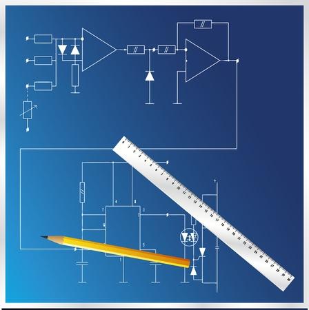 basic scheme: The electric basic scheme vector Illustration
