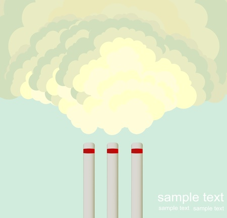 Industrial smoke comes out of a chimney against the blue sky Vector
