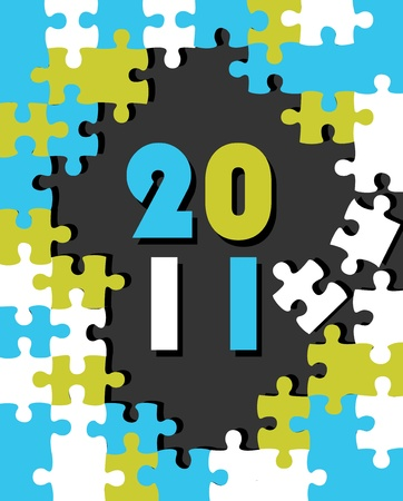 Puzzle with 2011 year vector background Vector