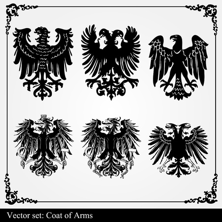 Heraldic eagles set vector background Vector