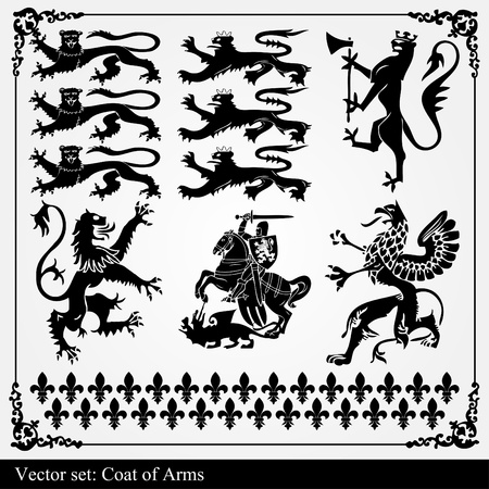 cross arms: Heraldic set of lions