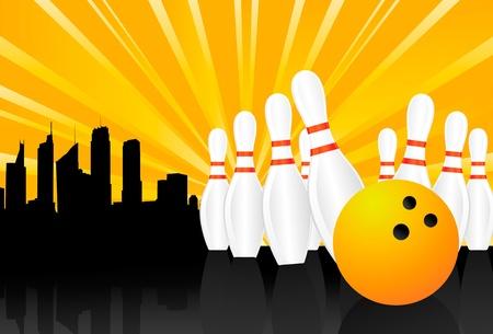 bolos: Fondo de vector de Bowling Ball