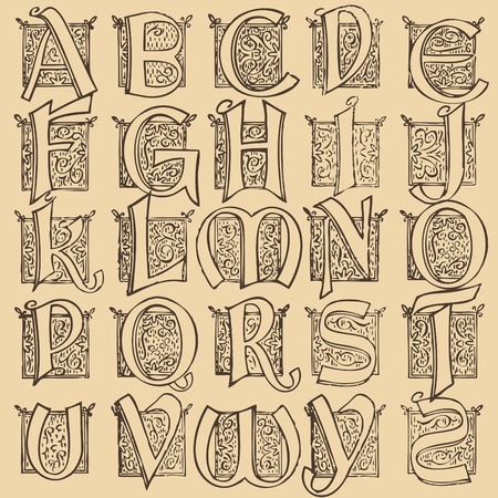 Vintage alphabet set Vector