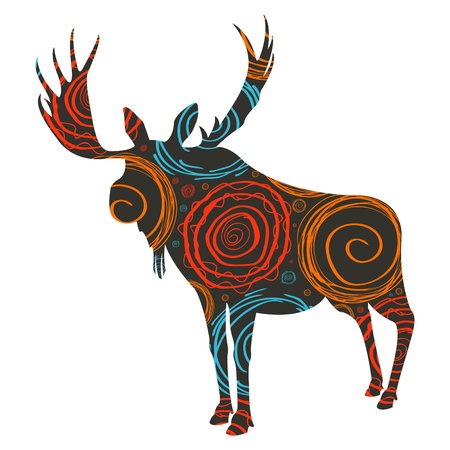 Moose background isolated on white Vector