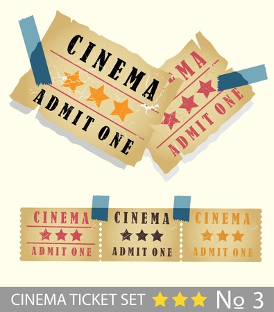 Vintage cinema tickets set  Vector