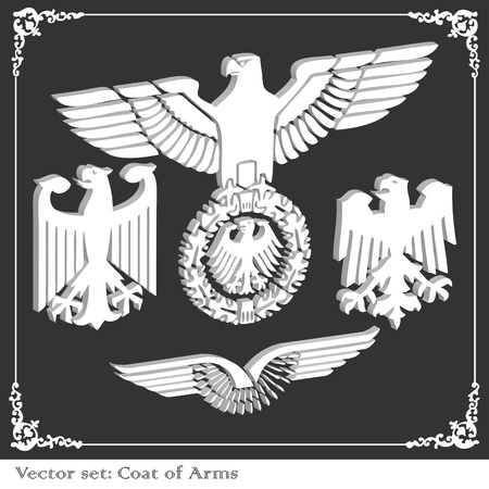 speculative: Heraldic eagles set vector background