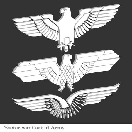 Heraldic eagles set vector background