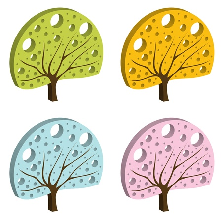 Tree set vector background Stock Vector - 10322156