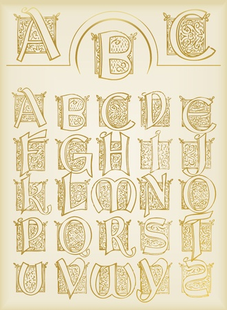 Vintage alphabet vector set Vector