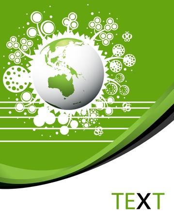 Bewaar onze planeet groen eco template poster met de aarde Vector Illustratie