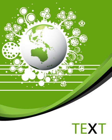 save energy icons: Save our planet green eco template poster with earth Illustration