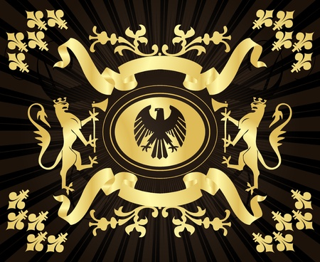Golden coat of arm background Vector