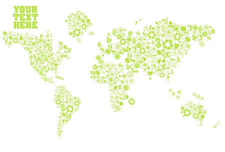 permaculture: World map made of ecology icons