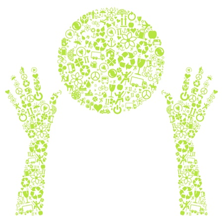 Eco world in hands made of ecology icons concept Vector