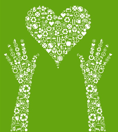 permaculture: Eco heart in hands made of ecology icons  Illustration