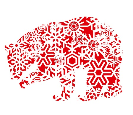 wet bear: Polar bear made of snowflakes Illustration