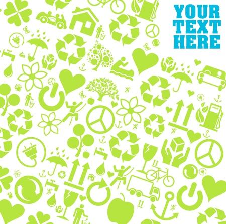 permaculture: Ecology icons background  Illustration