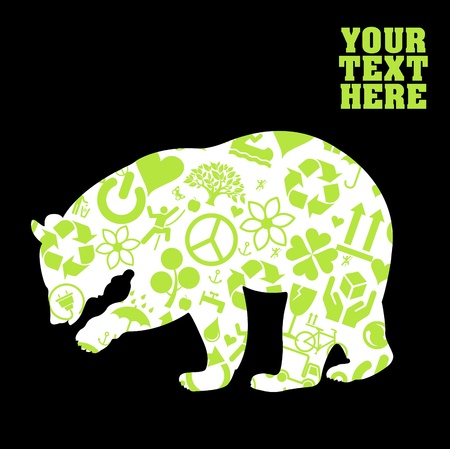 permaculture: Ecology bear background Illustration