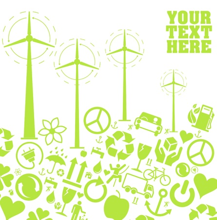 permaculture:  Wind generators and background made of ecology icons