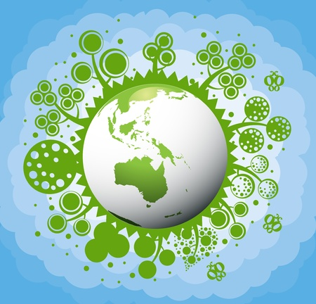 urban gardening: Green and clean ecology earth globe concept vector background with australia nature