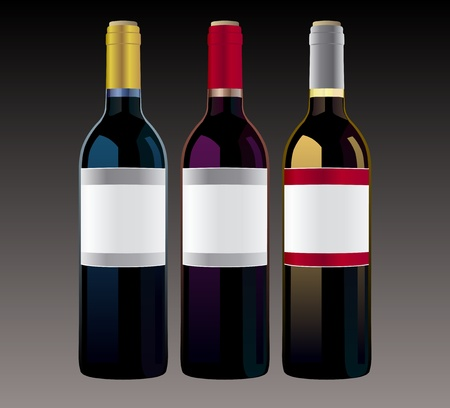 Vector bottles of wine Vector