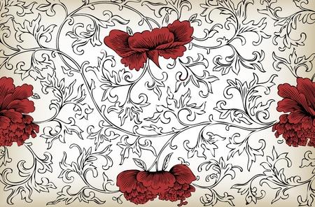 Vintage floral background vector Vector