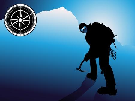 クライマー: 登山、岩の上  イラスト・ベクター素材