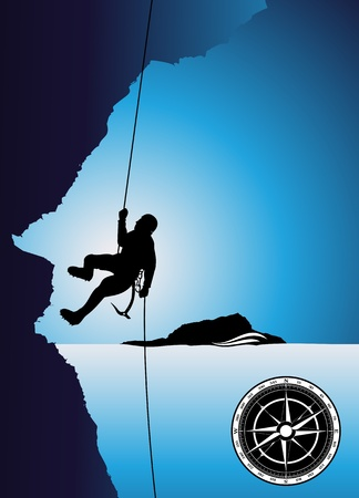 mountain climber: Alpinista sulla roccia  Vettoriali