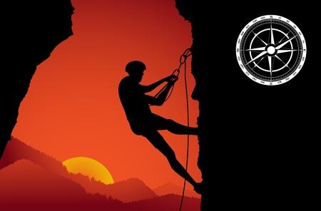 bergsteiger: Bergsteiger auf dem Felsen