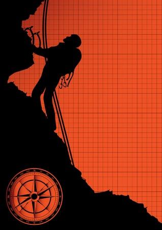 mountain climber: Alpinista sullo sfondo vettore roccia