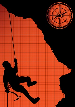 bergsteiger: Bergsteiger auf dem Rock-Vektor-Hintergrund