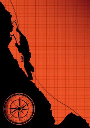 climbing wall: Mountain climber on the rock vector background