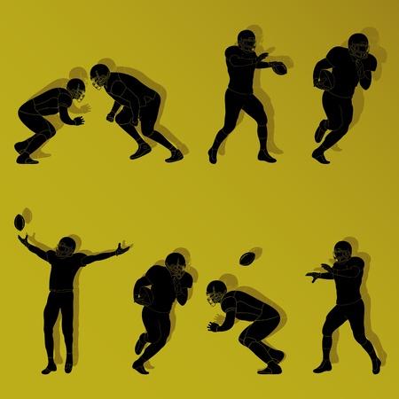 American football players set vector