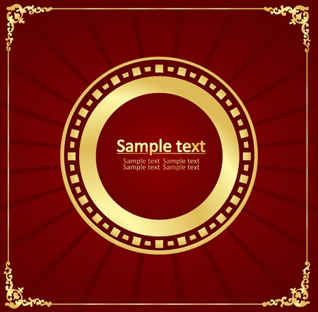 Vintage gold frame red vector background Vector