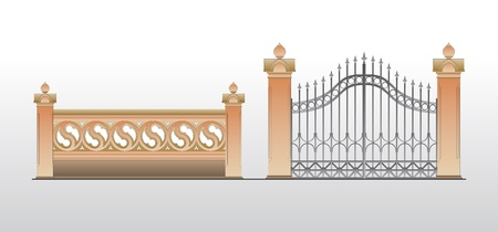 metal gate: Vintage gate background Illustration