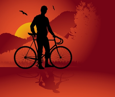 road bike: Bicycle trick background
