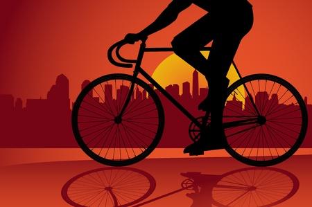 silueta ciclista: Fondo de truco de bicicleta