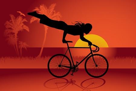 woman walk: Bicycle trick background