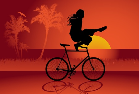 gymnastics silhouette: Bicycle trick background