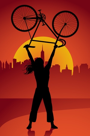 Bicycle trick background Vector