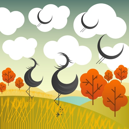 Crane autumn vector background Vector