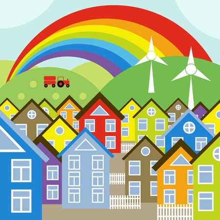 residential neighborhood: Houses vector background with wind generators and rainbow