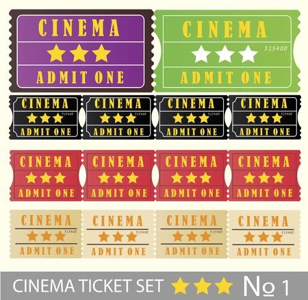Vintage cinema tickets set vector Vector