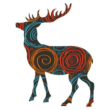 huge antlers: Abstract deer vector background